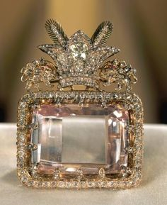 The Daria-i-Noor is one of the largest cut diamonds in the world, weighing an estimated 182 carats. Its colour, pale pink, is one of the rarest to be found in diamonds. The Darya-ye Noor is now preserved in the Treasury of National Jewels in the Museum of the Central Bank of Iran in Tehran.