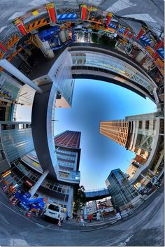 Japanese photographer Nick Heiwa creates this awesome photographs that seems to be projected from some fisheye mirror lens. His signature round world photographs are artistic and depict a picture of a scene with a 360 angle.