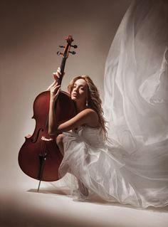 ♫♪ Music ♪♫ instrument cello with girl in white Dramatic play by *LadyMartist
