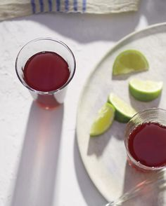Hibiscus Tea with Lime  Nondrinkers can sip hibiscus tea, a ruby-red refresher that's fit for day or night.