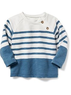 French Terry Striped Knit Top