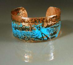 Handmade Patinated Copper Cuff Bracelet #CB461 Size Small / Medium, 123team