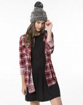 Red and white plaid shirt from Ardene. #Sarnia #LambtonMall