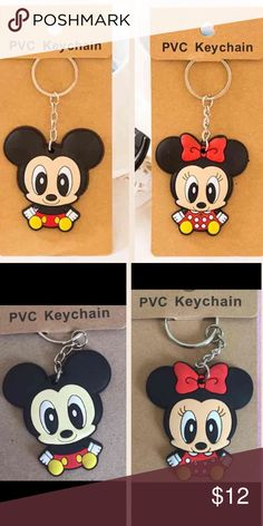 Mickey and Minnie Mouse keychains Two keychains included:                                                  One Minnie Mouse keychain and one Mickey Mouse keychain included only.                                                      Please see the second picture for the actual product you will receive. Thanks!                                                                 Bundle price: 2 for $12 Accessories Key & Card Holders
