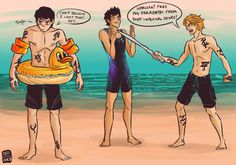 cinash:  Whatever bet Alec and Magnus took part in is totally up to you my followers. But clearly, whatever it was, Alec lost and has to wear the floaties of shame.