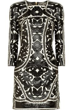 Balmain Embellished glossed-leather and suede dress