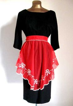Vintage 50s Apron SHEER RED Flocked BOWS Pin-Up