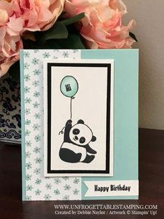 Unfrogettable Stamping | Fabulous Friday birthday card featuring the Sale-a-Bration stamp set Party Pandas, Whole Lot of Lovely DSP and Pool Party Stampin' Blends combo pack by Stampin' Up!