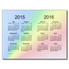 2015-2016 School Year Mini Calendar by Janz Postcard
