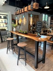 This Industrial style bar height table is customizable by size, paint/stain colors and wood species. Table Shown with a live edge . Bar Height Table, Home, Home Bar Designs, Kitchen Remodel, Kitchen Decor, Bars For Home, Kitchen Bar Table, Live Edge Bar, Live Edge Furniture