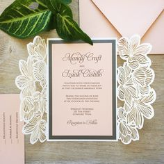 MANDY   White Shimmer Laser Cut Wedding Invitation With Blush Card Stock U0026  Charcoal Grey Accents