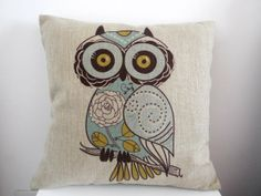 "Cotton Linen Square Decorative Throw Pillow Case Cushion Cover Cartoon Green Cute Cartoon Owl 18 ""X18 """