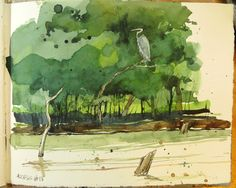 Cathy Johnson--Art, Life, and other Oddities : The Summer of Amazing Serendipity. Watercolor Journal, Pen And Watercolor, Watercolor Landscape, Watercolor Paintings, Watercolours, Landscape Paintings, Artist Journal, Artist Sketchbook, Sketchbook Drawings