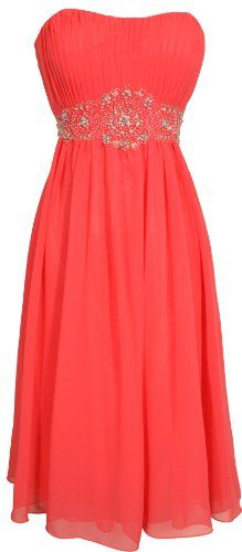 Strapless Chiffon Goddess Gown Prom Dress Formal Knee-Length Junior Plus Size, XS, Coral PacificPlex,http://www.amazon.com/dp/B004Z2VONG/ref=cm_sw_r_pi_dp_KcX4rb00DZM1FC00