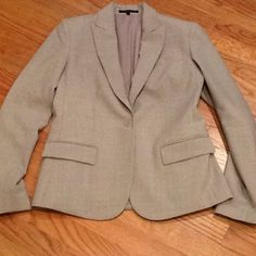 Theory Tan wool blazer Worn twice!  Excellent condition!!  No stains, no rips, no tears.  Has Spandex in the blazer for sttretch. Blazer is in perfect condition and goes great with matching dress, but would also look great with jeans!  Wear it with everything!.  Perfect for work or play! 96% wool, 4% Lycra.  Matching dress listed as well.  Will discount if bundled. Theory Jackets & Coats Blazers