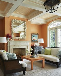 Living Room in Palm Beach Residence by Kemble Interiors, Inc. Burnt Orange Living Room, Coral Living Rooms, Beach Living Room, Living Room Color Schemes, Living Room Grey, Living Room Decor, Living Area, Living Spaces, Pink Bedroom Decor