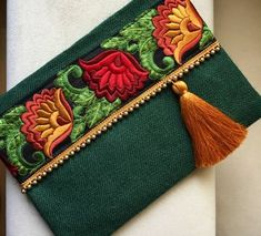 Clutch bag, boho bag, bohemian clutch, gift for her, clutch purse A fashion statement that everyone will swoon on! This ethnic clutch will bring elegance to your style. It will be chic with jeans or d Embroidery Bags, Vintage Embroidery, Embroidery Patterns, Jute Fabric, Floral Clutches, Blue Handbags, Ladies Handbags, Jute Bags, Clutch Bag