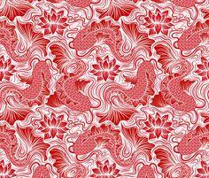 ❤ =^..^= ❤  1 Fish, 2 Fish... fabric by vo_aka_virginiao on Spoonflower - custom fabric