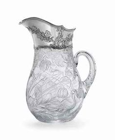 Tiffany & Co / Stevens & Williams Sterling Silver Mounted Cut Glass Pitcher c.1900