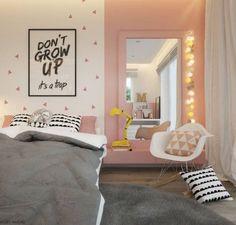 """Chambre d'enfant rose et grise """"Don't Grow Up"""""""