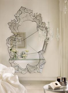 FEMININE MASTER BEDROOM DECOR | The Venice mirror by Boca do Lovo is great to get dramatic and feminine bedroom decors | www.bocadolobo.com #bedroomdesign #bedroomdecor