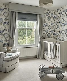 Beautiful hand made Curtain, Pelmet & Roman Blind in soft greys and blues made by Rascal & Roses for a stunning nursery by Lily Paulson Ellis. Photo by Nick Smith.