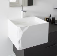 Bloc corian » modern bath sink in white corian