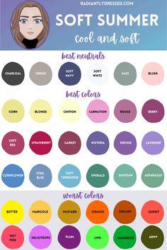 Soft Autumn Color Palette, Soft Summer Palette, Soft Summer Makeup, Summer Skin, Seasonal Color Analysis, Colors For Skin Tone, Color Me Beautiful, Season Colors, Summer Colors