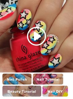 Faça suas unhas a estrela com esta manicure fresca … - Design de Unhas Trendy Nail Art, New Nail Art, Cool Nail Art, Star Nail Art, Dark Nails, Blue Nails, White Nails, French Nails, Nails Polish