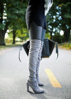 The Sweetest Thing: Over The Knee Boots w/Faux Leather Leggings- great boots/leggings! -- -  inserts that hold back the foot from sliding forward can make them wearable for many more hours even on hard concrete - the best inserts are from Killer Heels Comfort