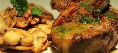 Lamb Chops with Mint Sauce & Mushrooms