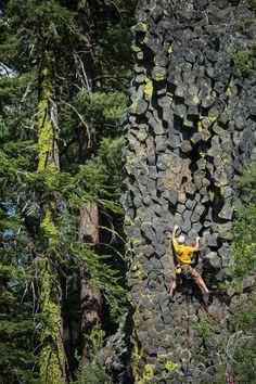 Photo: Andrew Burr Rock type: Basalt Climber: Andrew Marshall Route: Hexagonal (5.7) Location: Sonora Pass, California