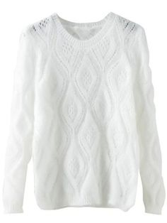 White Round Neck Hollow Diamond Patterned Sweater