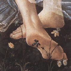 Sandro Botticelli Primavera detail. There are over 150 identifiable plant species in this painting, and hundreds more that are distinct but not precisely identified.