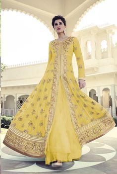Nargis Fakhri Yellow Georgette Designer Anarkali Suit 61850