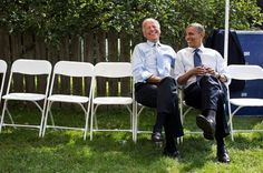 New Hampshire, Sept. Joking with the Vice President Joe Biden before a campaign rally in Portsmouth. (Official White House Photo by Pete Souza) Joe Biden, Obama And Biden, Black Presidents, Greatest Presidents, American Presidents, Portsmouth, Durham, New Hampshire, Obama Photographer