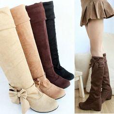 Womens Ladies Fashion Boho Style High Heel Wedge Knee Winter Boots Shoes Size | eBay