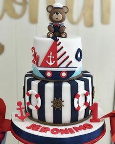 Anchor Birthday Cakes, Baby Birthday Cakes, Baby Boy 1st Birthday, Baby Shower Cakes, Baby Boy Shower, Sailor Birthday, Ocean Cakes, Nautical Cake, Ballerina Cakes