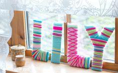 más y más manualidades: Decorando letras con lana o estambre