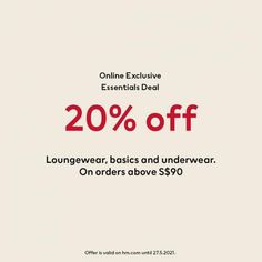 H&M Malaysia Online Sale Essentials Deal 20% OFF valid until 27 May 2021 H&m Online, Online Sales, 20 Off, Fashion Sale, Lounge Wear, Essentials, Loungewear, Casual Wear