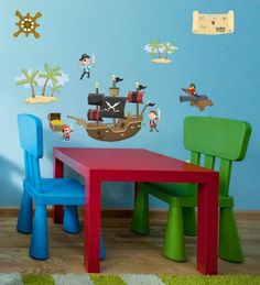 Adventurous Pirate Wall Decals to instantly create a fun pirate themed kids room. Just peel and stick to design, and are movable so you can change their placement.