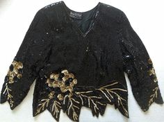Vintage Royal Feelings Sequined Beaded Top Blouse Size L 100% Silk Black Gold
