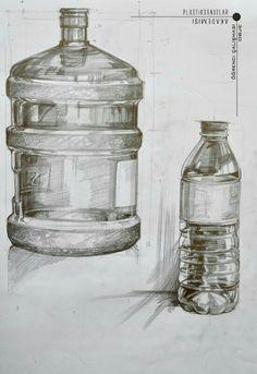 большой бутыль Pencil Sketch Drawing, Pencil Art Drawings, Realistic Drawings, Art Sketches, Still Life Sketch, Still Life Drawing, Bottle Drawing, Object Drawing, Drawing Exercises