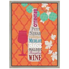 Wine on Orange Framed Canvas Wall Art (180 CAD) ❤ liked on Polyvore featuring home, home decor, wall art, orange, framed wall art, orange home accessories, framed canvas wall art, canvas home decor and vertical wall art