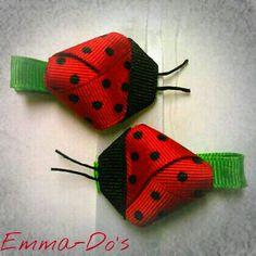 Ladybug hair clips.