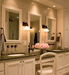 love the double sinks and vanity to sit down at to do makeup