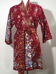 Yukata - Tageskimono - red with flowers