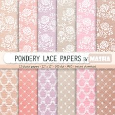 Lace digital paper: POWDERY LACE PAPERS with powder by MashaStudio #lace…
