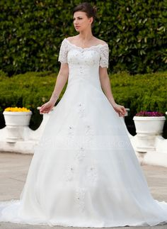 Wedding Dresses - $202.99 - Ball-Gown Off-the-Shoulder Chapel Train Organza Wedding Dress With Ruffle Lace Beading (002011562) http://jenjenhouse.com/Ball-Gown-Off-The-Shoulder-Chapel-Train-Organza-Wedding-Dress-With-Ruffle-Lace-Beading-002011562-g11562