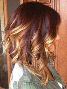 Gorgeously rich ombré that looks like polished gold and mahogany.  Perfect for wavy, chin/collarbone length hair.